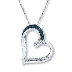 Blue/White Diamonds Sterling Silver Necklace, Do you think if i got this for someone, they may like it??