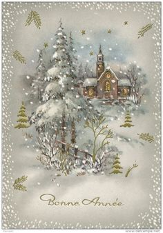 Starting at - Category: Postcards > Topics > Holidays & Celebrations > New year Christmas Card Images, Vintage Christmas Images, Christmas Scenes, Christmas Paper, Vintage Holiday, Christmas Pictures, Xmas Cards, Holiday Cards, Christmas Crafts
