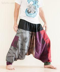 Rainbow Patchwork Hindu Om Hobo Harem Pants Baggy Aladdin Trousers (HO-OM17)