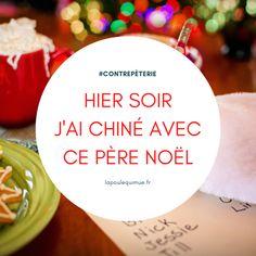 🐔 Hier soir j'ai chiné avec ce père Noël #contrepèterie #lapoulequimue #noel #xmas #joyeuxnoel Solution, Noel, China