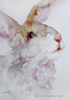 ARTFINDER: Woolly theWhite Rabbit by Arti Chauhan - This is a recent watercolor painting of a cute little white bunny with large, liquid eyes. I have painted him in softest of hues, using only Burnt Sienna,Pi. Art Watercolor, Watercolor Animals, Watercolor Portraits, Lapin Art, Illustration Art, Illustrations, Rabbit Art, Bunny Art, Guache