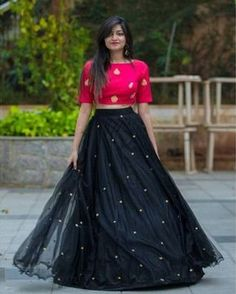 Color Black+Pink (Mixed) Occasion Party, Wedding, Festive Lehenga Fabric Silk Choli Fabric Silk Cotton Blend Type Lehenga, Choli Dupatta Fabric No Neck U Neck Sleeve Yes Embroidered Yes Dupatta No Stitching Type Semi Stitched Pattern Embroidered Half Saree Designs, Choli Designs, Lehenga Designs, Half Saree Lehenga, Indian Lehenga, Black Lehenga, Net Lehenga, Cotton Lehenga, Black Kurti