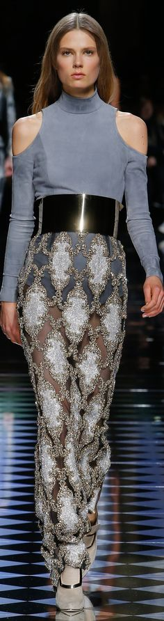 Balmain fall 2016 RTW love the mod cut out with old world embellishments.