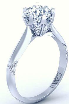 14k white gold unique solitaire diamond engagement ring