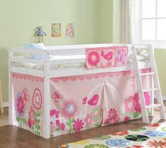 Cabin Bed Mid Sleeper in White with Tent FLORAL 578WG FLORAL: Amazon.co.uk: Kitchen & Home  £190