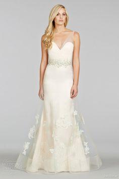 jim hjelm spring 2014 sleeveless wedding dress sheer draped tulle bodice straps style jh8413 front view