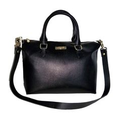 Gianni Versace Collection Black Leather Satchel With Strap ❤ liked on Polyvore featuring bags, handbags, versace, satchel handbags, versace purses, genuine leather satchel handbags and genuine leather purse