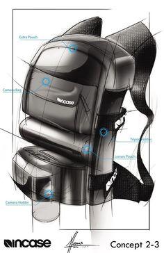 Industrial design backpack rendering