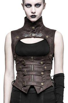 Top marron en imitation cuir avec sangles et col haut, postapo steampunk, Punk Rave > STEAMPUNK STORY - PUNKR0350