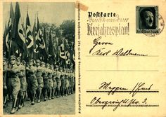 Germany, A postcard from the Nazi regime depicting a Parteitag parade, 1937.