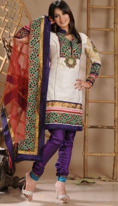 Provocative Cotton Chanderi Churidar Kameez