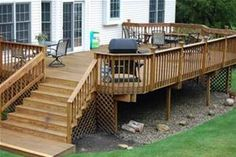 back deck designs - leave open on bottom place gravel underneath, edge in to control rock