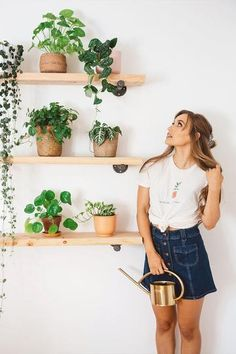 Kristin Johns Kristin Made Watch Me Grow Teeshirt House Plants Decor, Plant Decor, Interior Plants, Interior Design, Kristin Johns, Watch Me Grow, College Room, Plant Shelves, My Dream Home