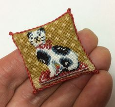 Staffordshire cat dolls house pillow by nicolamascall on Etsy