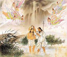 Jesus Christ is baptized in the Jordan. By Woonbo Kim Ki-chan, Korean, 1950s