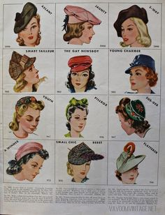 1940s vintage McCalls hat patterns from Va-Voom Vintage with Brittany