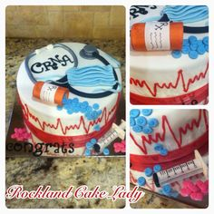 Graduation cake from the CRNA program. Everything edible.