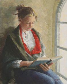 Fine art oil painting by artist Richard Boyer. #readers #reading #books