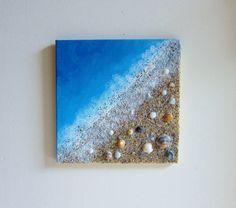 Beach Painting Ocean Decor with Real Sand and Seashells Art - Coastal Home Decor Textured Art - Mixed Media Canvas Art - Beach Wall Art Seashell Art, Seashell Crafts, Beach Crafts, Diy Crafts, Sand Crafts, Crafts With Seashells, Nature Crafts, Starfish, Diy Canvas