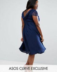 ASOS CURVE Kate Lace Cowl Back Midi Dress