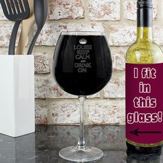 Unusual Father's Day Gift - Personalised Keep Calm Bottle of Wine Glass