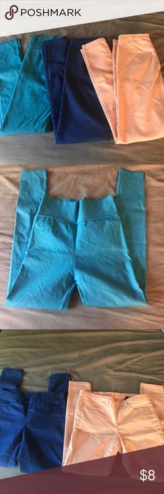 H&M Pants Lot Re-poshing this lot of colorful Skinny Pants as they did not fit me. Peach and blue pants are H&M - tag says 6 but fit more like a tight 4. Turquoise pants don't have a tag but also fit like a 4. All in good condition, no major flaws noticed. H&M Pants Skinny