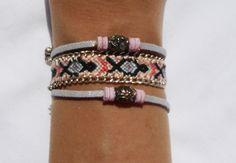 LOT 3 BRACELETS : BRÉSILIEN CHAÎNE, BRACELETS SUÉDINE PERLES : Bracelet par kiline