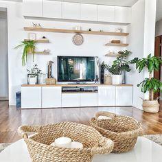Instead of wood, black marbke Living Room Tv Unit Designs, Living Room Wall Units, Cute Living Room, Living Room Decor Colors, Ikea Living Room, Cozy Living Rooms, Living Room Modern, Interior Design Living Room, Home And Living