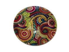 Glass Cabochon Round 30mm - Paisley Multi from Nosek's Just Gems