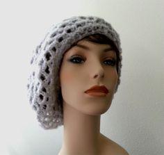 Silver Gray Hair Net Snood Slouchy Beanie  by ShopforCrochet