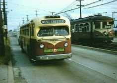 Red Arrow Old Look GMC and Center Entrance Trolley