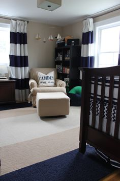 This contemporary nautical nursery was designed for my baby boy Camden. Most of the nursery was done before he arrived but the final touches (including personalized touches) came after he was born.
