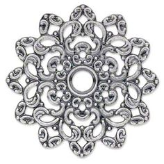 Focal, antiqued silver-plated steel, 47x47mm single-sided fancy flower. Sold per pkg of 6.