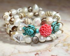 Shells and Pearls Turquoise Sea Turtle Bracelet by Exgalabur, $28.00