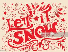Hand Drawn Let It Snow Typography Illustration , Very Merry Christmas, Xmas, Let It Snow, Let It Be, Typography, Lettering, Website Design Inspiration, Winter Art, Whippet