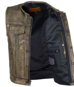 Black, 5X Club Vest Mens Denim Club Vest w// Leather Trim /& Hidden Zipper 1 Pack