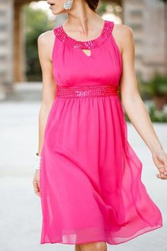 Sequined Scoop Neck A-Line Chiffon Dress