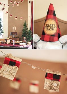 """This lumberjack party has me obsessed! From the buffalo check party hats to the giant photo booth props to the sapling party favors and the Lincoln Log cabin decor. Tootsie rolls and Swiss cake rolls could look like """"log"""" food. How can I convince one of my daughters to go for this theme??"""