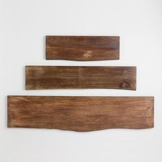 2 ft x 3 shelves Create a custom wall shelf unit when you pair our Mix & Match brackets with our wood shelves featuring an organic edge and rich graining. Live Edge Shelves, Large Shelves, Wood Floating Shelves, Wood Shelves, Hanging Shelves, Walnut Shelves, Wall Shelving, Mounted Shelves, Glass Shelves