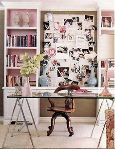 girly office space...love the bookshelf