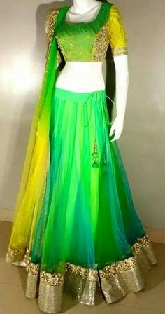 Indian # Bollywood fashion # Green # ghagra choli # Vitamin by Sonalika # Sonalika Pradhan Half Saree Designs, Lehenga Designs, Blouse Designs, Lehenga Gown, Anarkali Dress, Bridal Lehenga, Indian Dresses, Indian Outfits, Ethnic Outfits