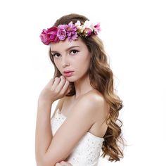 Beautiful Women Rose Flower Crown Garland Headband with Adjustable Ribbon at…