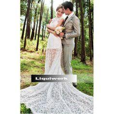 White Lace Vintage Cheongsam Style Spring Fall Bridal Wedding Dresses SKU-119084