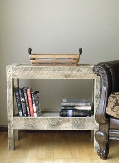 End Table Nightstand Side Table Book Shelf by JNMRusticDesigns