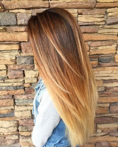 long caramel and blonde ombre for dark brown hair
