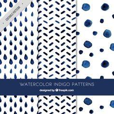 Lindos patrones indigo  Vector Gratis