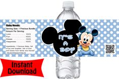 partyexpressinvitations - Baby Shower Mickey Mouse It's a Boy Water Bottle Labels - Baby Blue, $2.99 (http://www.partyexpressinvitations.com/baby-shower-mickey-mouse-its-a-boy-water-bottle-labels-baby-blue/)