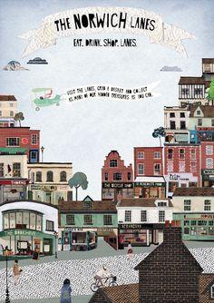 Norwich Lanes illustration by Poppy Cole. Norwich England, Norwich Norfolk, Norfolk England, House Illustration, Digital Illustration, Illustrations, Norfolk Coast, Uk Photos, East Coast