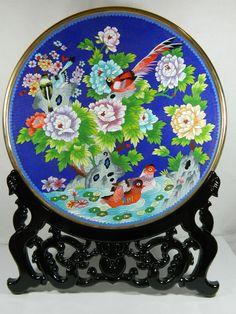 "15"" Chinese Cloisonne Enamel Plate/Dish Mandarin Duck Bird Peony Stone Pattern"