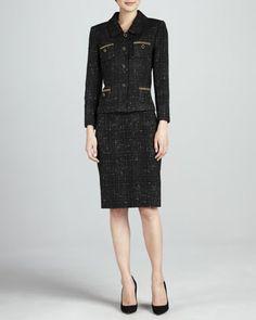 Tahari Tweed Skirt Suit, Black/Gold - Neiman Marcus